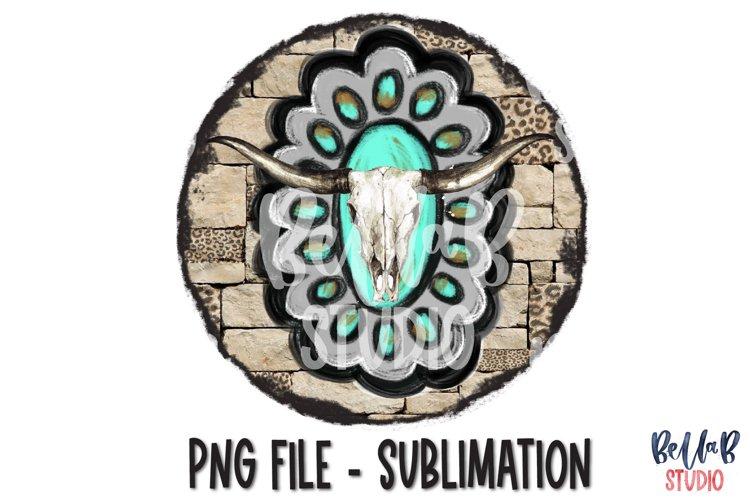Southwestern Turquoise Rock and Skull Sublimation Design example image 1