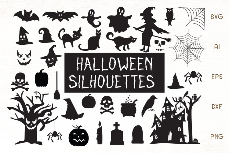 Halloween Silhouettes SVG - Halloween Vector Cliparts example image 1