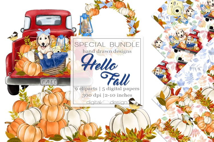 Hello Fall - Clipart and digital paper example image 1