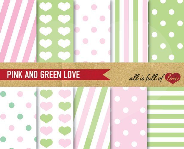 Pink and Lime Green Patterns Valentines Digital Paper Pack example image 1