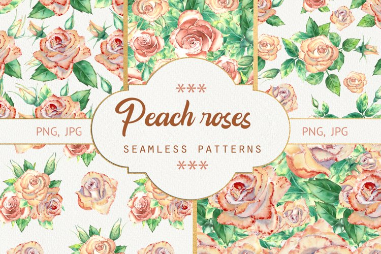 Seamless patterns with peach roses. Watercolor example image 1