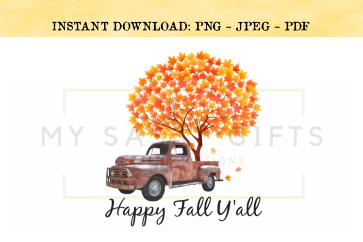 Happy Fall Y'all Rustic Red Truck With Autumn Tree PNG example image 1