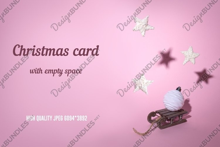 Christmas card with reusable decorations on pink background example image 1