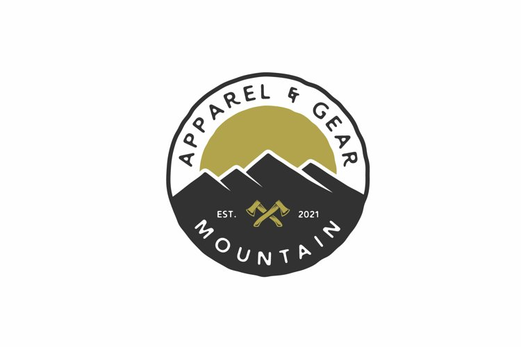 Hand drawn Vintage Hipster Mountain Adventure Stamp Logo example image 1