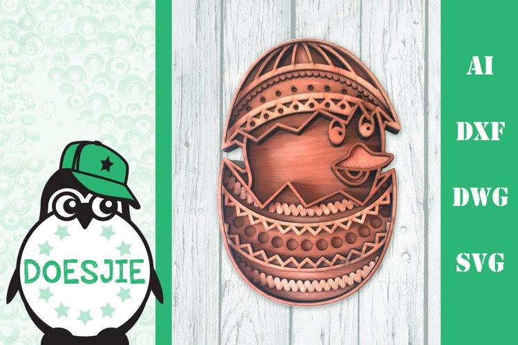 Easter chick in Easter egg Layered mandala SVG Laser cut