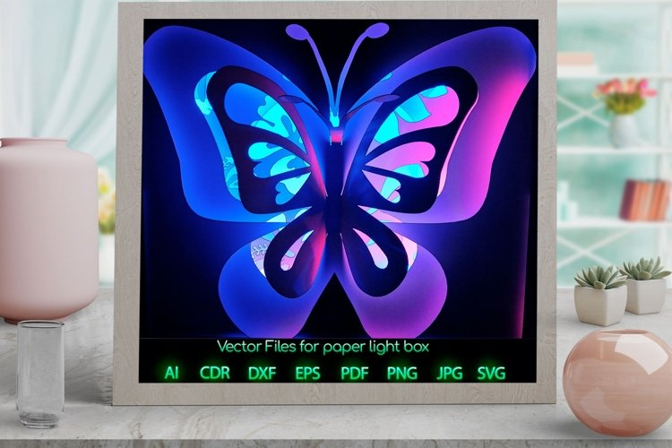 Butterfly Light box PNG SVG DXF CDR template Papercut example image 1