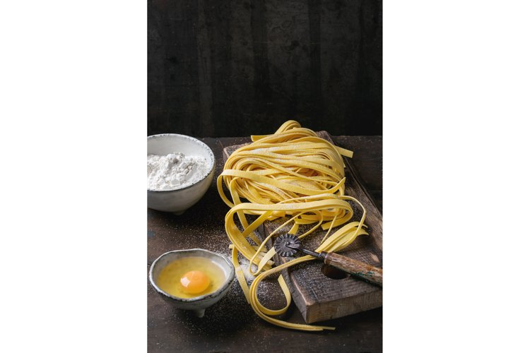 Raw homemade pasta tagliatelle example image 1