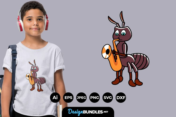 Ant Playing Music for T-Shirt Design example image 1