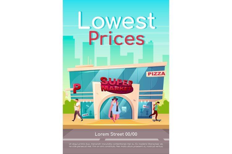 Lowest prices poster flat vector template example image 1