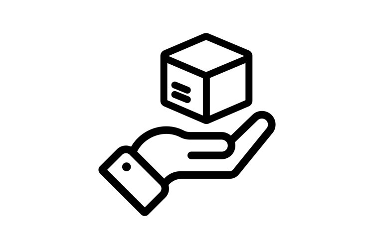 Delivery line icon. Hand holding package. Shipment, shipping example image 1