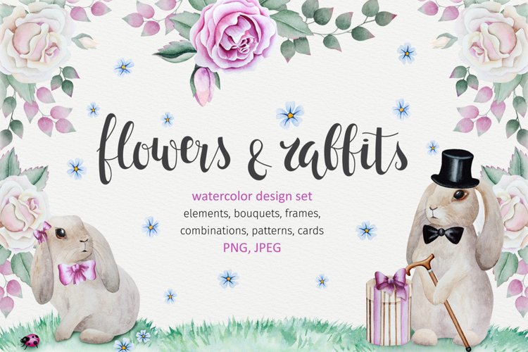 Rabbits and flowers collection. example image 1
