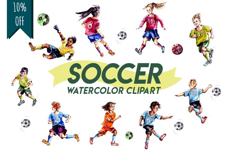 Soccer Players Sport Professional Sportsmen Watercolor set example image 1