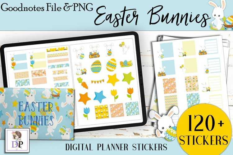 Easter Bunny Digital Printable Stickers Goodnotes PNG example image 1