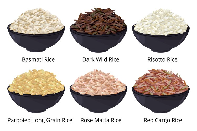 Different type of rice. Long grain, brown, white and other. example image 1