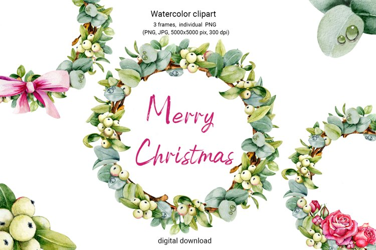 Christmas wreath, watercolor illustration, eucalyptus, roses example image 1