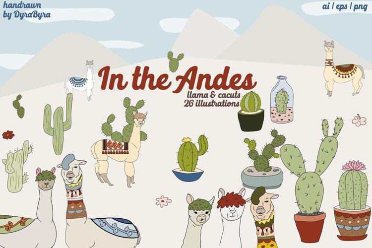 Llama Clipart, Cactus Graphics Illustrations example image 1