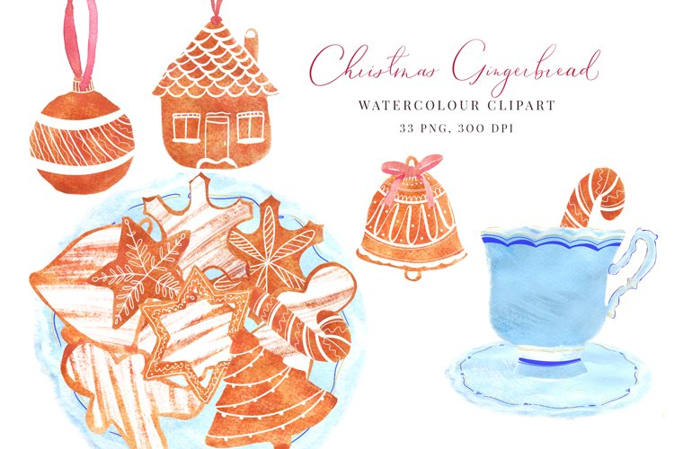 Watercolour Christmas, Gingerbread, PNG