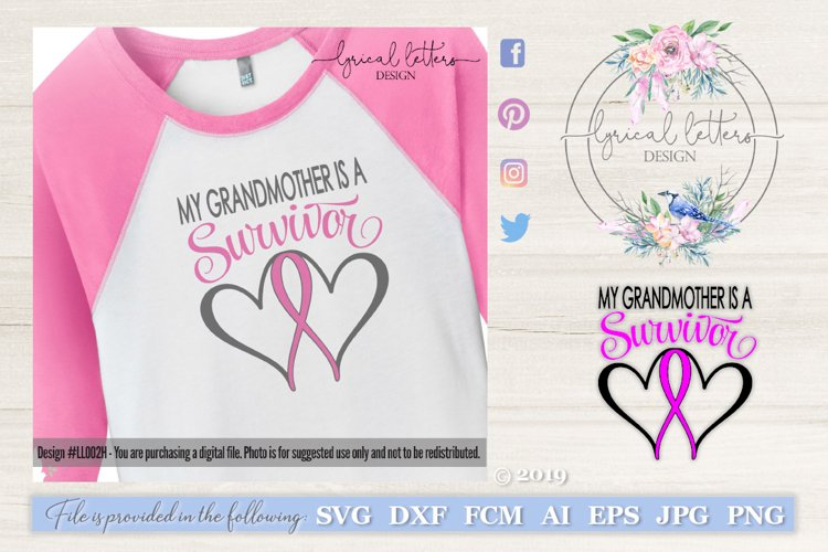 Grandmother Survivor Pink Ribbon SVG DXF LL002H