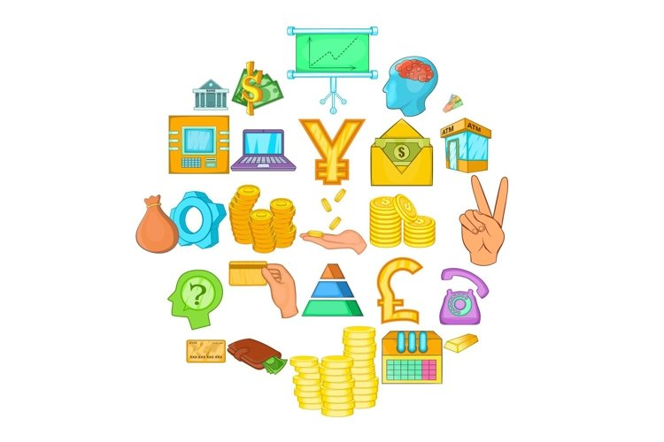 Bank icons set, cartoon style example image 1