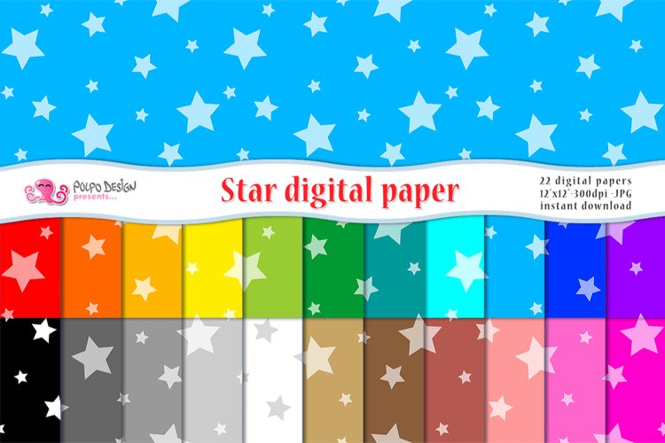 Colorful Star Digital Paper