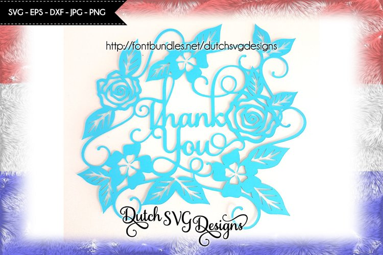 Cut file Thank You, papercut svg, thank you svg, flowers svg example image 1