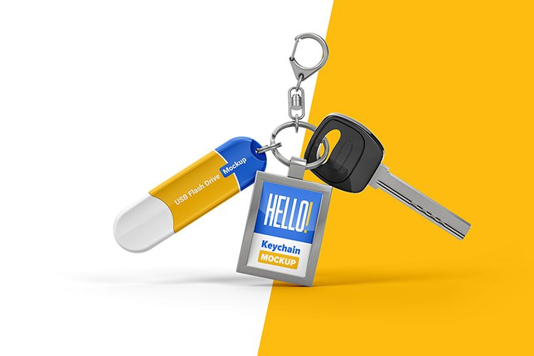 Branded Keychain With Flash Drive Mockup example image 1