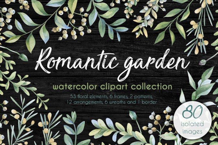 Romantic garden. Watercolor cliparts example image 1