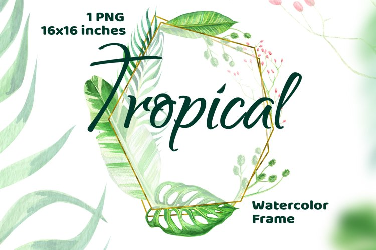 Exotic Leaf ClipArt Tropical Frame example image 1