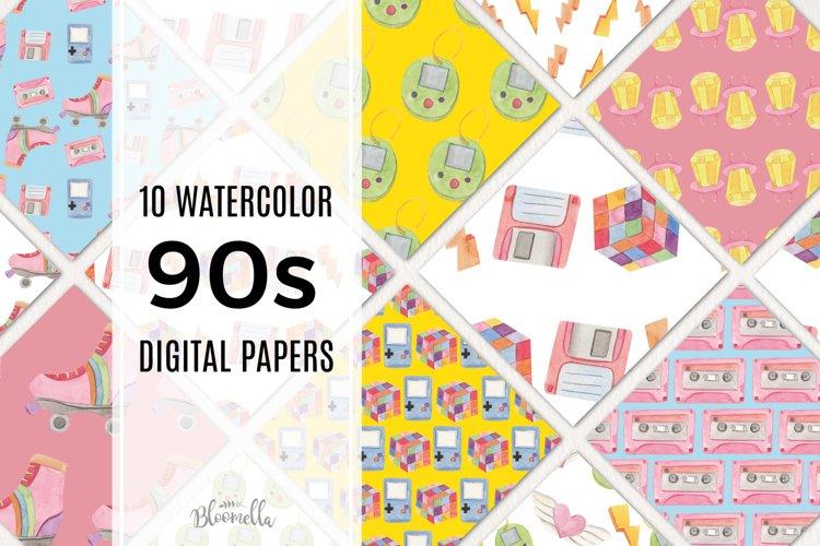 90s Seamless Patterns Digital Paper Watercolor Nineties