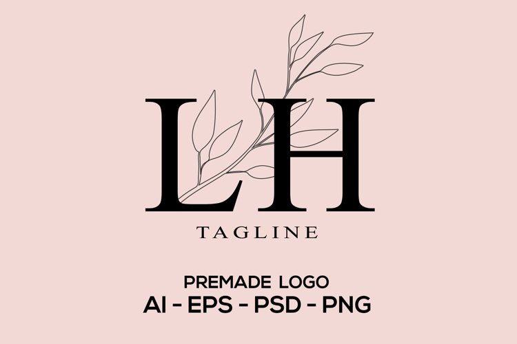Floral Modern and Minimalist Premade Logo Template, Feminine