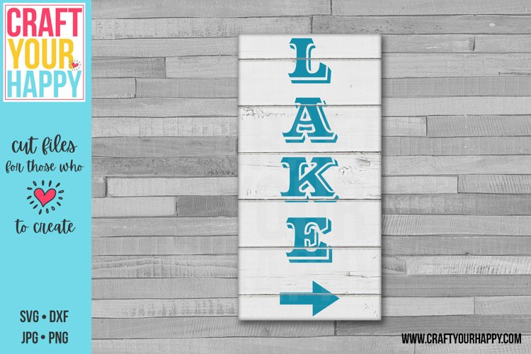 Vertical Lake Sign With Arrow - Lake/Summer SVG