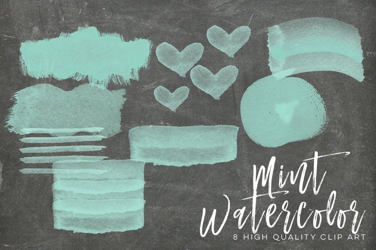 mint watercolor strokes, Green Mint Watercolor Strokes, Wall Art Print, Watercolor clipart strokes banners, Social media Splashes Clipart example 1