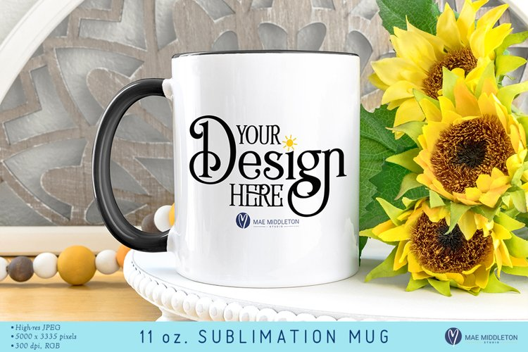 11 oz. Sublimation Mug Mock up | Sunflowers Styled Photo