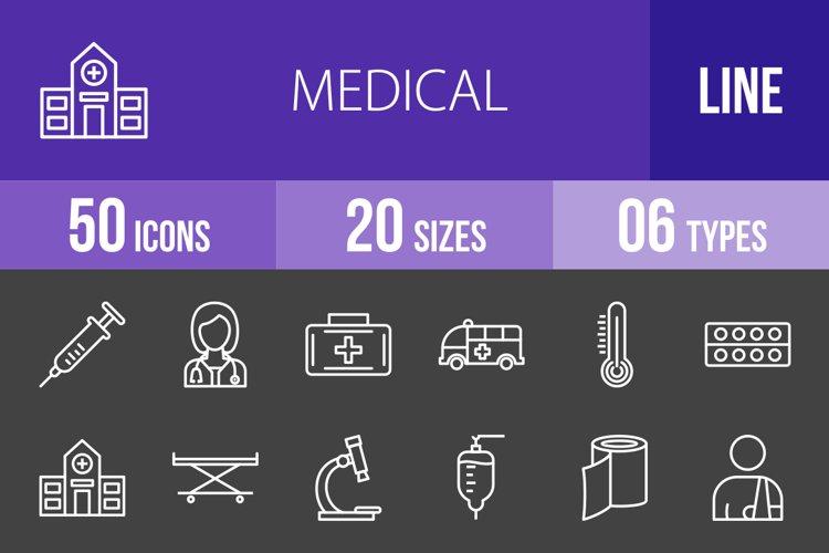 50 Medical Line Inverted Icons Season II example image 1