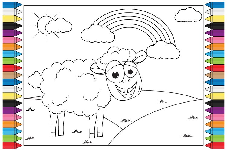 coloring sheep nanimal cartoon for kids example image 1