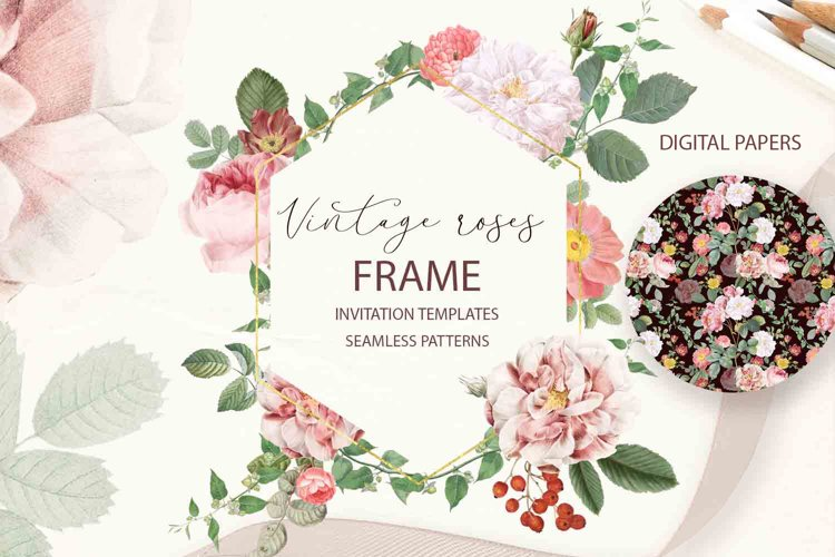 Vintage Floral Clipart Patterns Rose Frame Card watercolor example image 1