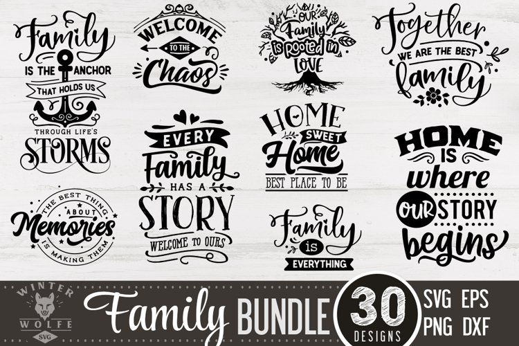 Family Bundle 30 designs SVG EPS DXF PNG example image 1