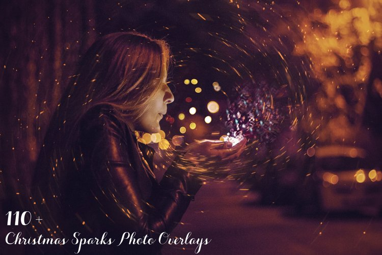 110 Christmas Sparks Photo Overlays example image 1