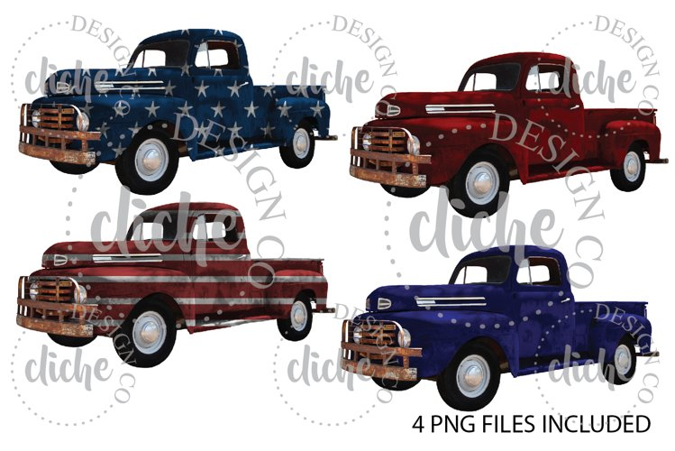 Vintage Patriotic Truck Sublimation Design Bundle