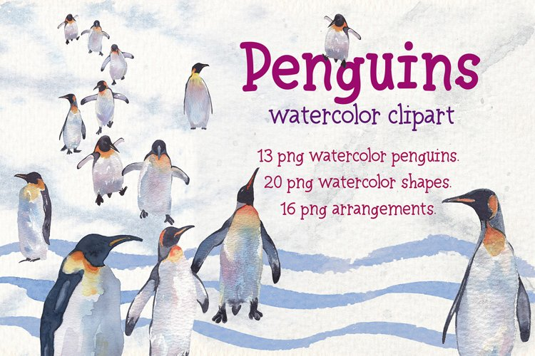 Penguins watercolor clipart