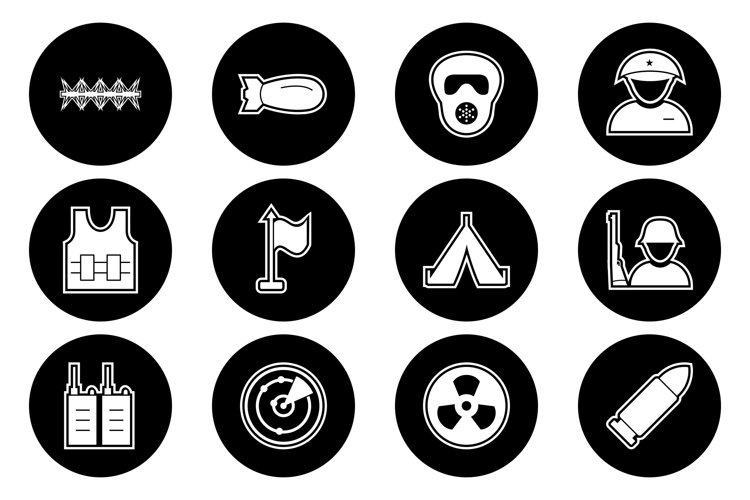 Set Of Military and Army Icons example image 1