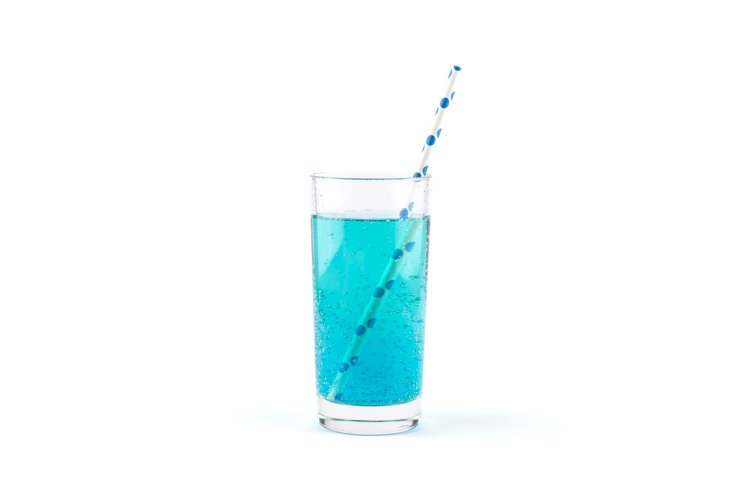 Blue lemonade with gas bubbles and a cocktail straw isolated