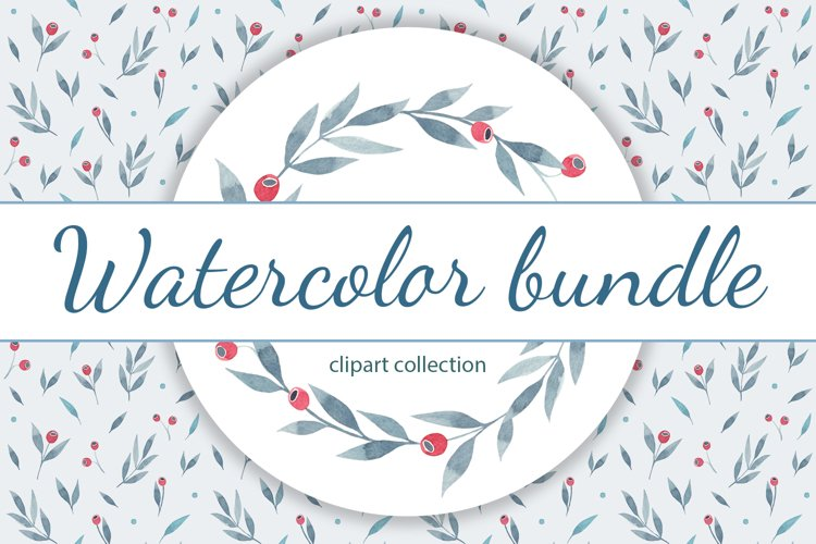 Watercolor Set of Twigs and Red Berries example image 1