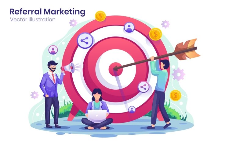 Business Target Marketing concept flat illustration example image 1