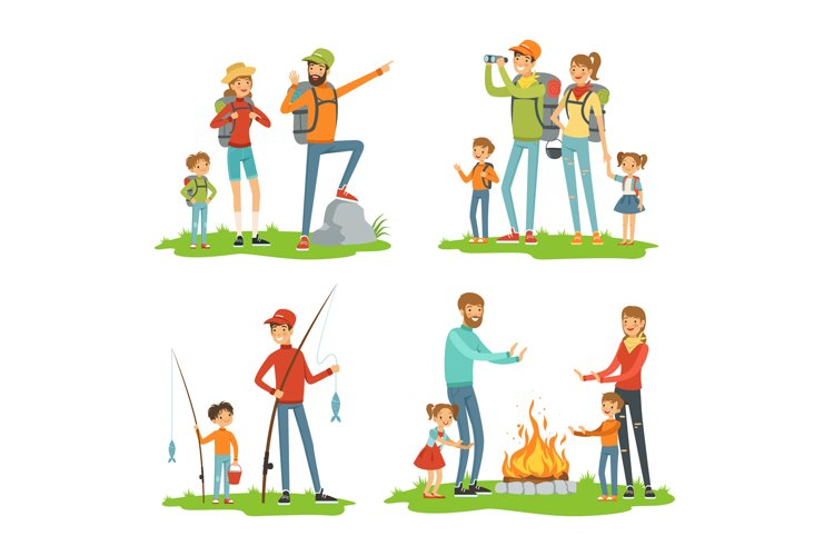 Happy family hiking. Travelling children with their parents. example image 1