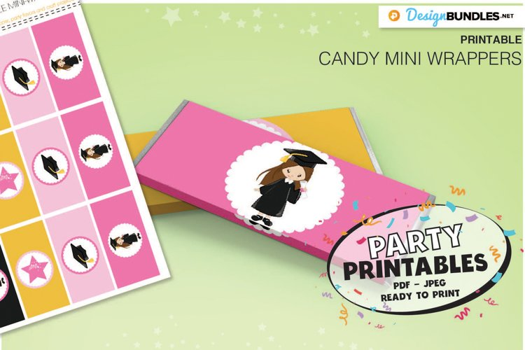 Printable Graduation Girl Candy wrappers- Printable Party example image 1