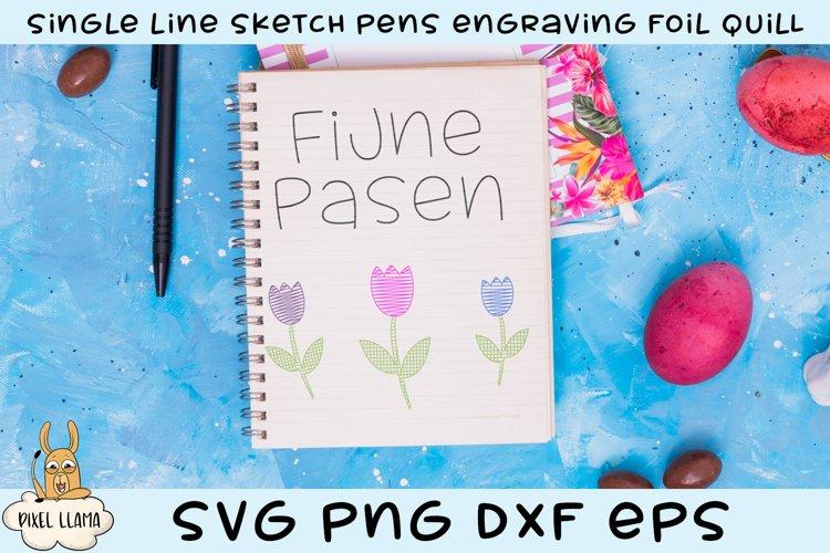 Fijne Pasen Happy Easter Dutch Single Line Sketch Foil Quill