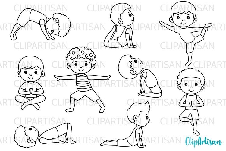 Yoga Clip Art, Yoga Poses Boys, Yoga Digital Stamps example image 1