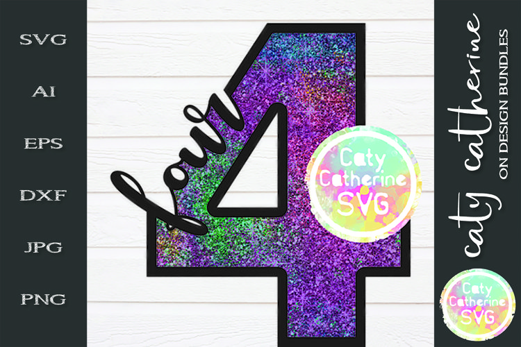 4 Four Years Old Birthday SVG Cut File example image 1