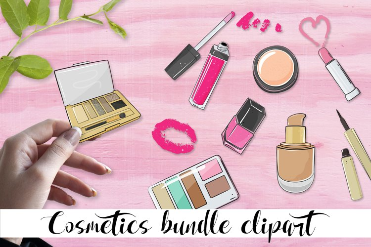 Cosmetics bundle clipart, make up and skincare eps, png. example image 1